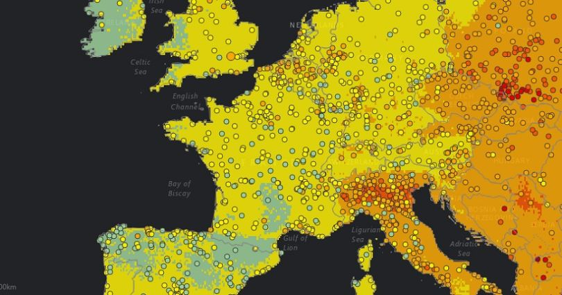Carte de la pollution atmosphérique mondiale (zoom Europe) ©OMS